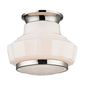 Odessa Polished Nickel One-Light Semi Flush with Opal Matte Glass