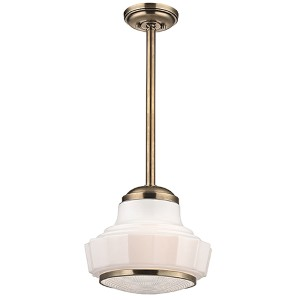 Odessa Aged Brass One-Light 13.5-Inch Wide Pendant with Opal Matte Glass