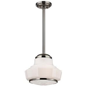 Odessa Satin Nickel One-Light 13.5-Inch Wide Pendant with Opal Matte Glass