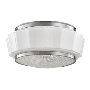 Odessa Satin Nickel Two-Light Flushmount