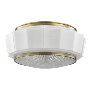 Odessa Aged Brass Three-Light Flushmount