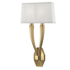 Erie Aged Brass Two-Light Wall Sconce with White Faux Silk Shade