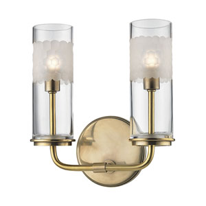 Wentworth Aged Brass Two-Light Wall Sconce