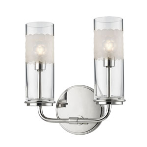 Wentworth Polished Nickel Two-Light Wall Sconce