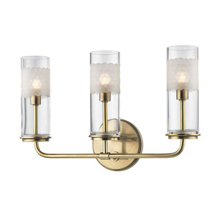 Wentworth Aged Brass Three-Light Wall Sconce