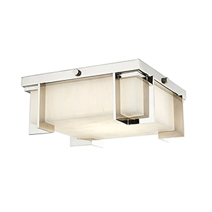 Delmar Polished Nickel LED 10.25-Inch Flush Mount