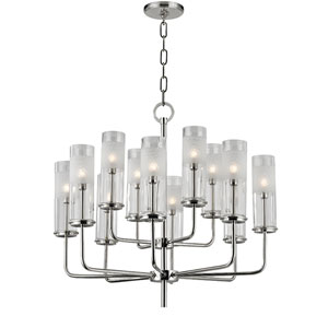 Wentworth Polished Nickel Twelve-Light Chandelier with Clear Glass