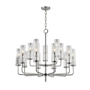 Wentworth Polished Nickel Fifteen-Light Chandelier with Clear Glass