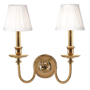 Menlo Park Two-Light Aged Brass Sconce