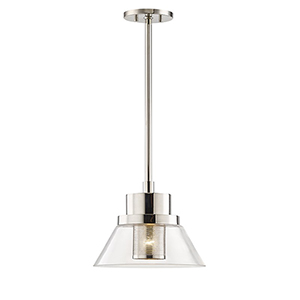 Paoli Polished Nickel 1-Light 12-Inch Pendant
