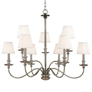 Menlo Park Nine-Light Polished Nickel Chandelier