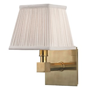 Dixon Aged Brass One-Light Wall Sconce with Silk Shade