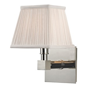 Dixon Polished Nickel One-Light Wall Sconce with Silk Shade