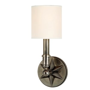 Bethesda Aged Silver One-Light Wall Sconce with White Shade