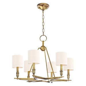 Bethesda Aged Brass Six-Light Chandelier with White Shade