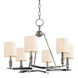 Bethesda Aged Silver Six-Light Chandelier with Cream Shade