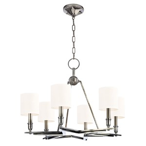 Bethesda Aged Silver Six-Light Chandelier with White Shade