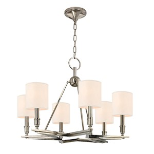 Bethesda Polished Nickel Six-Light Chandelier with Cream Shade