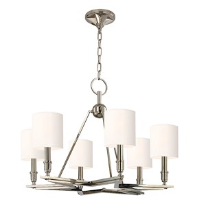 Bethesda Polished Nickel Six-Light Chandelier with White Shade