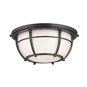Conrad Old Bronze Two-Light Flush Mount with Opal Glossy Glass