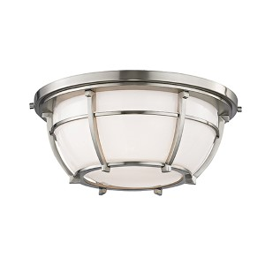 Conrad Satin Nickel Two-Light Flush Mount with Opal Glossy Glass