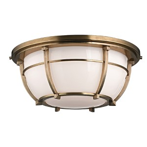 Conrad Aged Brass Three-Light Flush Mount with Opal Glossy Glass