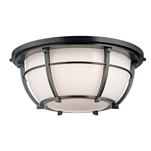 Conrad Old Bronze Three-Light Flush Mount with Opal Glossy Glass