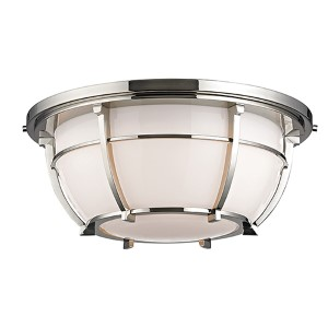 Conrad Polished Nickel Three-Light Flush Mount with Opal Glossy Glass