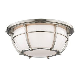 Conrad Satin Nickel Three-Light Flush Mount with Opal Glossy Glass