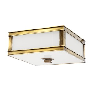 Preston Aged Brass Two-Light Flush Mount with Inside Frosted Glass