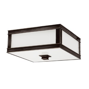 Preston Old Bronze Two-Light Flush Mount with Inside Frosted Glass