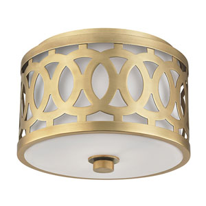 Genesee Aged Brass One-Light Flushmount with White Glass