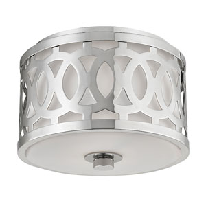 Genesee Polished Nickel One-Light Flushmount with White Glass