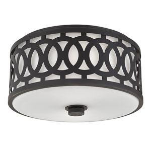 Genesee Old Bronze Two-Light Flushmount with White Glass