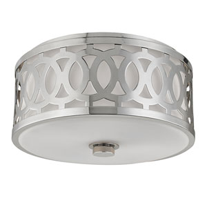 Genesee Polished Nickel Two-Light Flushmount with White Glass