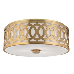 Genesee Aged Brass Three-Light Flushmount with White Glass