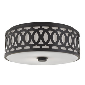 Genesee Old Bronze Three-Light Flushmount with White Glass