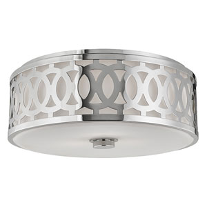 Genesee Polished Nickel Three-Light Flushmount with White Glass