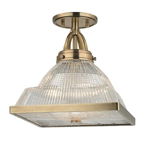 Harriman Aged Brass One-Light Semi Flush with Clear Glass