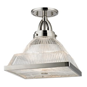 Harriman Polished Nickel One-Light Semi Flush with Clear Glass