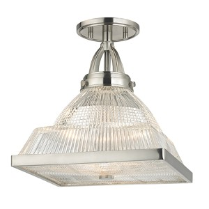 Harriman Satin Nickel One-Light Semi Flush with Clear Glass