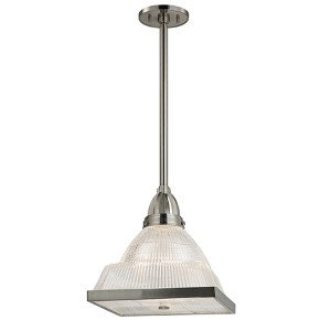 Harriman Satin Nickel One-Light 15-Inch High Pendant with Clear Glass