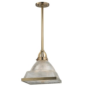 Harriman Aged Brass 17-Inch High One-Light Pendant with Clear Glass