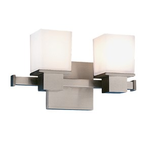Milford Satin Nickel Two-Light Bath Fixture