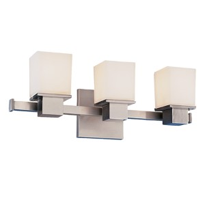 Milford Satin Nickel Three-Light Bath Fixture