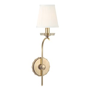 Clyde Aged Brass One-Light Wall Sconce with Pleated White Shade