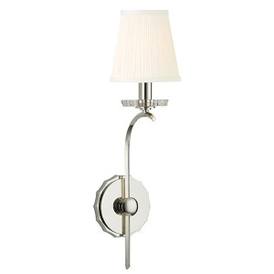 Clyde Polished Nickel One-Light Wall Sconce with Pleated White Shade