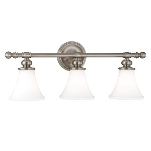 Weston Three-Light Polished Nickel Bath Fixture