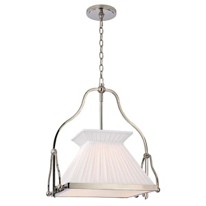 Clifton Polished Nickel One-Light Chandelier with White Box Pleat Shade