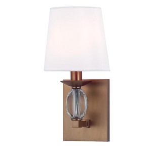Cameron Brushed Bronze One-Light Wall Sconce with White Shade